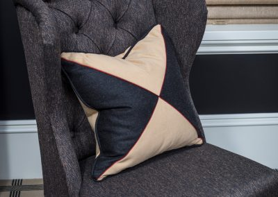 Black and Suede Decorative Pillow