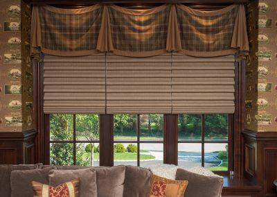 Plaid and Solid Wool Draped Valance over Hunter Douglas Cordless Vignettes