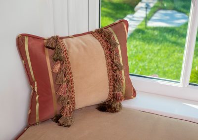 Rust, gold and tan rectangular pillow