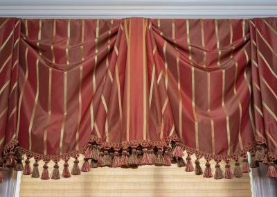 Stripe Bordeaux Valance with tassel trim