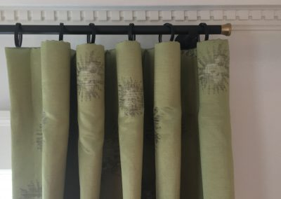 Green Cartridge Pleat Drapes