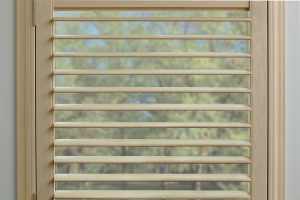 Hunter Douglas shutter, New Style shutter, white shutter, plantation shutter, small louver size, single panel shutter, blind, shade