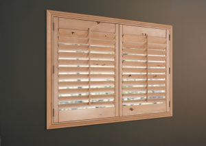 Hunter Douglas shutter, two panel shutter, plantation shutter, shutter with front tilt bar, two panel shutter, natural stain shutter
