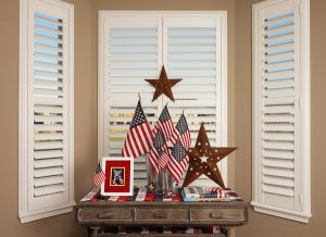 Hunter Douglas, white shutters, plantation shutters, New Style shutter, rear tilt bar, american flags, USA, patriotic decorating, two panel shutter